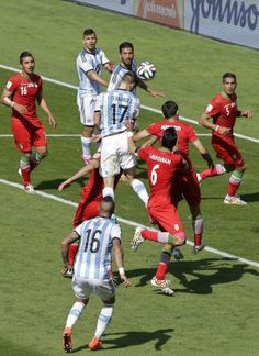 FIFA World Cup 2014 - Argentina 1 Iran 0 (6.21.2014) Argentina's Federico Fernandez heads the ball during the group F World Cup soccer match between Argentina and Iran at the Mineirao Stadium in Belo Horizonte, Brazil, Saturday, June 21, 2014. Sergei Grits / AP