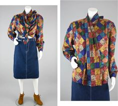 9fbe4b7d4a 80s Silky Polyester Blouse Vintage