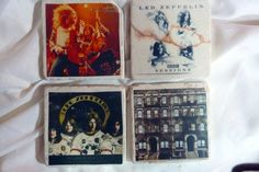 Tumbled Marble Coasters - Led Zeppelin -  set of 4  - CD Covers - Rock and Roll coasters - music coasters