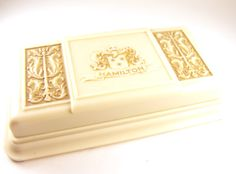 Celluloid Jewelry Box Embossed Lyre Design Hamilton Watch Company USA by hipcricket on Etsy