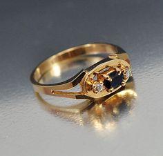 Vintage Gold CZ Sapphire Ring Size 6