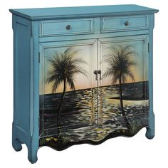 Hand-painted wood cabinet with a beach motif.     Product: CabinetConstruction Material: WoodColor: