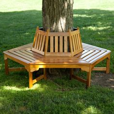 Turn your favorite backyard tree into a comfortable bench. Just like a tree house, only a whole lot easier to sit in, this Hexagonal Outdoor Tree Bench in Weather Resistant Cedar Wood wraps around you