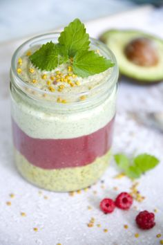 Layered chia pudding with a little bit of everything