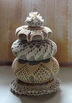 Home Decor, Collectible, Housewares, Crocheted Lace Stone, Handmade Art, Original, Table Decoration, Golden Beige Thread with Gray Stone. $65.00, via Etsy.