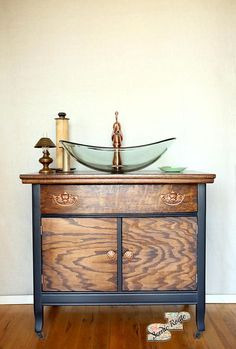 Items similar to Bathroom Vanity Bathroom Cabinet Vessel Sink Tiny Home Sink Antique Dresser Rose Gold Bathroom Sink SOLD! Dresser Vanity Bathroom, Bathroom Vanity Makeover, Bathroom Cabinets, Bathroom Styling, Bathroom Furniture, Bathroom Vanities, Gold Bathroom, Bathroom Ideas, Etsy Furniture