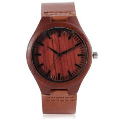Casual Red Nature Wood Bamboo Genuine Leather Band Strap Sport Wrist Watch Analog Minimalist Cool Men Women Gift