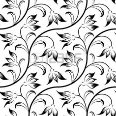 abstract lily, floral black isolated seamless background