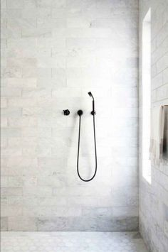 editorial The LA editorial,The LA editorial, oversized marble bathroom tiles // bathroom renovation ideas Brilliant Bathroom Shower Design Ideas white marble bathroom Shop domino for the top brands in home decor and be inspired by celebrit Bathroom Renos, Bathroom Interior, Modern Bathroom, Small Bathroom, Shower Bathroom, Minimalist Bathroom, Bathroom Shop, Shower Tiles, Minimalist Decor