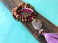 Agtate Violet Quartz and Coral Stone and Druzy Tassel by RedRylon