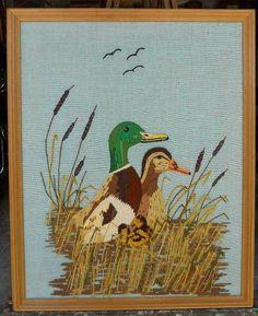 Ornithology Vintage Framed Needlepoint Ducks Marshes Upland Hunting Cabin Decor