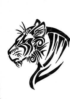 Tribal bobcat Head Drawings | Tribal Animal Drawings How to draw a ...