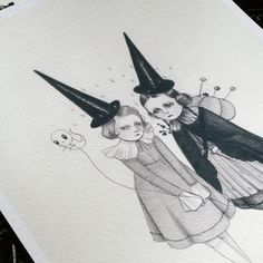 Two Witches mini print archival giclee by woolandwater on Etsy