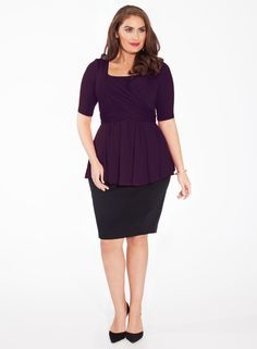 The Curvy Fashionista | Janelle Plus Size Top in Damson