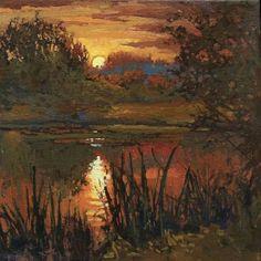 "Jan Schmuckal - Last Light On The Pond - 12""x 12"" - Original Oil - Tonalist Impressionist Artist - Grove Park Inn Arts & Crafts Conference - Asheville, NC - 2014"