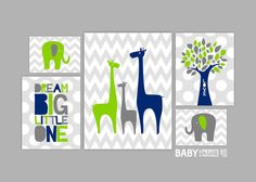 Modern nursery art Navy Lime Green Grey Nursery art prints, Set of 5, Giraffe, Elephant, Tree, Dream Big Little One on Etsy, $52.00