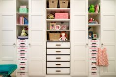 Shared Girls Room Closet Organization - a drawer for each day of the week is genius!