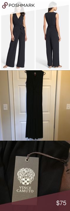 Vince Camuto Pantsuit Adorable wrinkle-free black jumpsuit by Vince Camuto, new with tags. Fell in love with this but I have a long torso and unfortunately it is too short for me. :( Vince Camuto Pants Jumpsuits & Rompers
