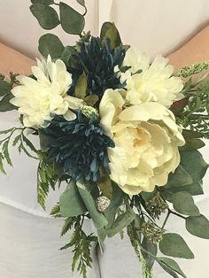 Ivory White Blue Rose Lavender Wilflower Flower Hair Comb Bridesmaid 1950s B50