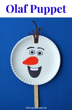 Frozen Olaf Inspired Puppet Craft - paper plate