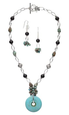 Jewelry Design - Single-Strand Necklace and Earring Set with Blue Sky Jasper Gemstone Beads, Black Onyx Gemstone Beads and Turquoise Gemstone Focal - Fire Mountain Gems and Beads