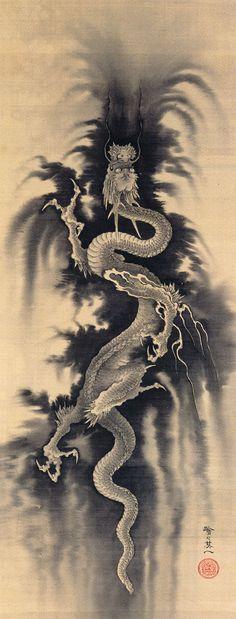 Suzuki Kiitsu. Ascending Dragon. Japanese painting. Nineteenth century.