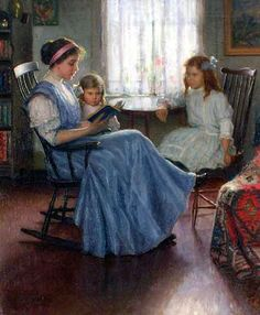 Mother Reading by Lee Lufkin Kaula circa 1910 Fine Art Giclee Print on Canvas, Mother's Gift, Living Room Wall Decor - pinned by pin4etsy.com