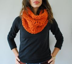 I'm making myself one of these! If you don't knit, though you can buy one here Chunky Hand Knit Cowl in PUMPKIN.