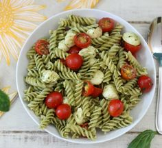 Pesto Pasta Salad #SundaySupper - A light, summery pasta salad made with homemade pesto, fresh tomatoes and mozzarella.