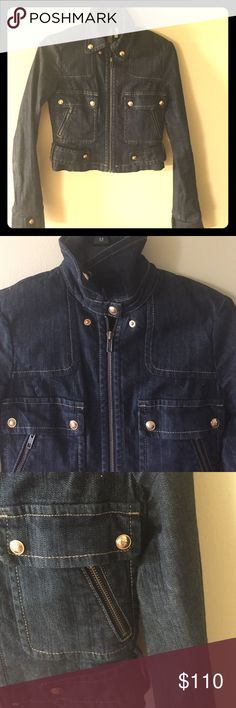 BCBG denim Moto jacket This jacket is a must have in any ward robe. Great for fall BCBGMaxAzria Jackets & Coats Jean Jackets