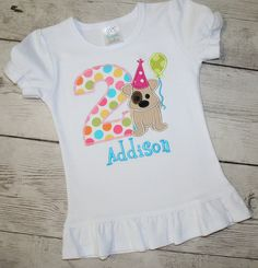 A great puppy dog birthday shirt for your little ones birthday celebration and they will look adorable wearing it all year round to let everyone