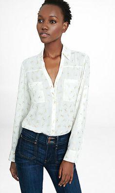 original fit metallic bow print portofino shirt