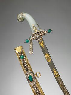 Saber with Scabbard Date: 19th century Culture: Turkish Medium: Steel, gold, brass, diamonds, emeralds, pearls