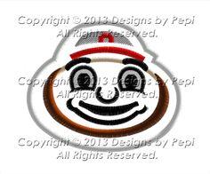 Ohio State Buckeyes Mascot Applique Machine Embroidery Design