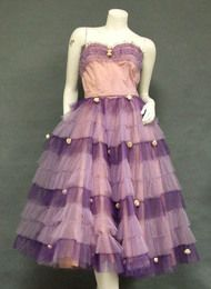 Two Toned Tulle 1950's Prom Dress w/ Rosettes