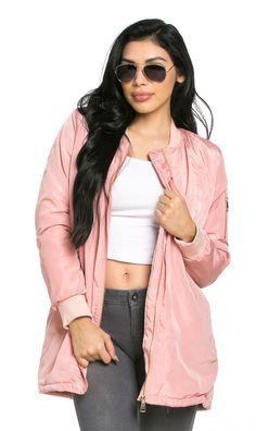 Long Pink Bomber Jacket Pink Bomber Jacket, Pink Jacket, Blazer Jacket, Oversized Jacket, Long A Line, Diamond Princess, Outerwear Jackets, Blazers, Zip