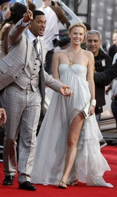 """Another day, another high slit! Charlize Theron sported an ethereal Dior by John Galliano dress to the premiere of """"Hancock"""" in Los Angeles on June Charlize Theron, Hollywood Celebrities, Hollywood Actresses, Actors & Actresses, David Beckham Style, Actrices Hollywood, Matthew Mcconaughey, Bright Stars, Keanu Reeves"""