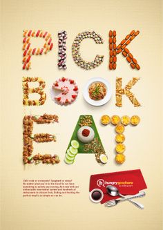 Hungry Go Where: Food Typography by Andrea Limjoco, via Behance