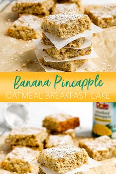 Get excited to eat cake for breakfast with our Banana Pineapple Oatmeal Breakfast Cake! By baking together traditional breakfast ingredients, you'll have a delicious way to get the whole family up and ready to take on the day. Pineapple Recipes, Banana Recipes, Oatmeal Muffins, Baked Oatmeal, Brunch Recipes, Cake Recipes, Dessert Recipes, Breakfast Cake, Breakfast Smoothies