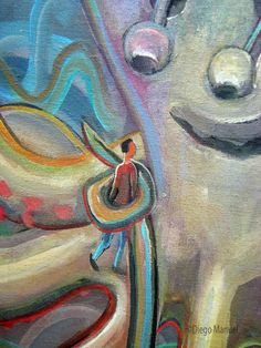 Pulpo 6, acrylic on canvas, 46 x 70 cm. , 2012.. Paintings by Diego Manuel