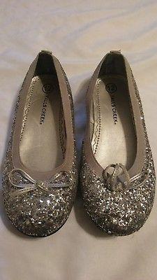 girls sparkly shiny dress slip on shoes sz 12 💎