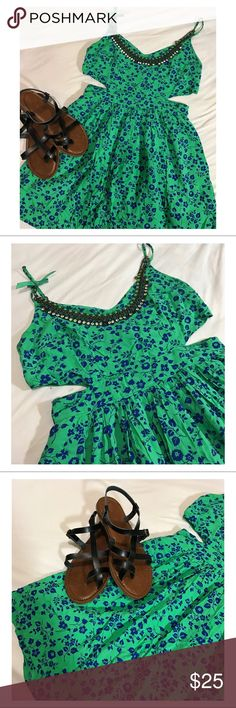Abercrombie & Fitch Floral Cut Out Skater Dress Green with blue floral skater dress. Two cut outs on the left and right side of waist area. Adjustable straps. Extremely soft and exquisite floral detailing. Very flowy and flattering dress. Perfect with gladiator sandals. No damage or stains. Worn twice. Offers + Questions Welcomed 😊😊. Abercrombie & Fitch Dresses