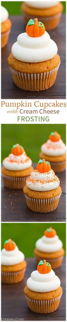 Pumpkin Cupcakes with Cream Cheese Frosting recipe. Topped with a little pumpkin candy - they're such a cute fall treat!