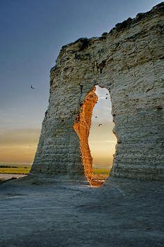 Sunset Through The Keyhole, Monument Rocks National Natural Landmark, Kansas, USA