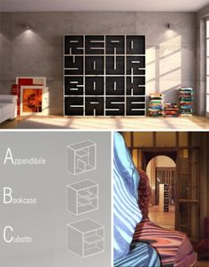 Alphabet shelving cubes. Very fun and innovative.