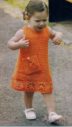 TEjidos - Knitted - Orange Dress and Bag free crochet graph pattern Crochet Toddler Dress, Crochet Dress Girl, Baby Girl Crochet, Crochet Baby Clothes, Crochet For Kids, Crochet Dresses, Pull Crochet, Crochet Lace, Crochet Stitches