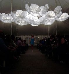by Cumulous Light Canopy by Steven Haulenbeek Umbrella Art…incredible! by Cumulous Light Canopy by Steven Haulenbeek, # White Umbrella, Umbrella Lights, Umbrella Art, Canopy Lights, Light Canopy, Event Lighting, Stage Lighting, Stage Design, Event Design
