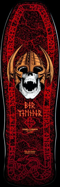 Powell Peralta Per Welinder Nordic Skull Deck Blk/Red - 9.625 x 29.75 Photo #1 - Photo Gallery - Powell-Peralta®