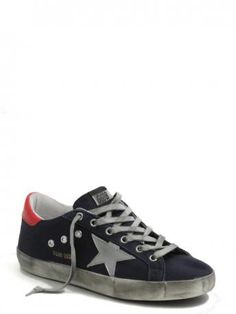 Golden Goose-sneakers super star navy canvas silver star-Golden Goose shop online