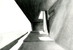 Jeremy P. Alford | atmospheric charcoal drawing. one point perspective, light and shade